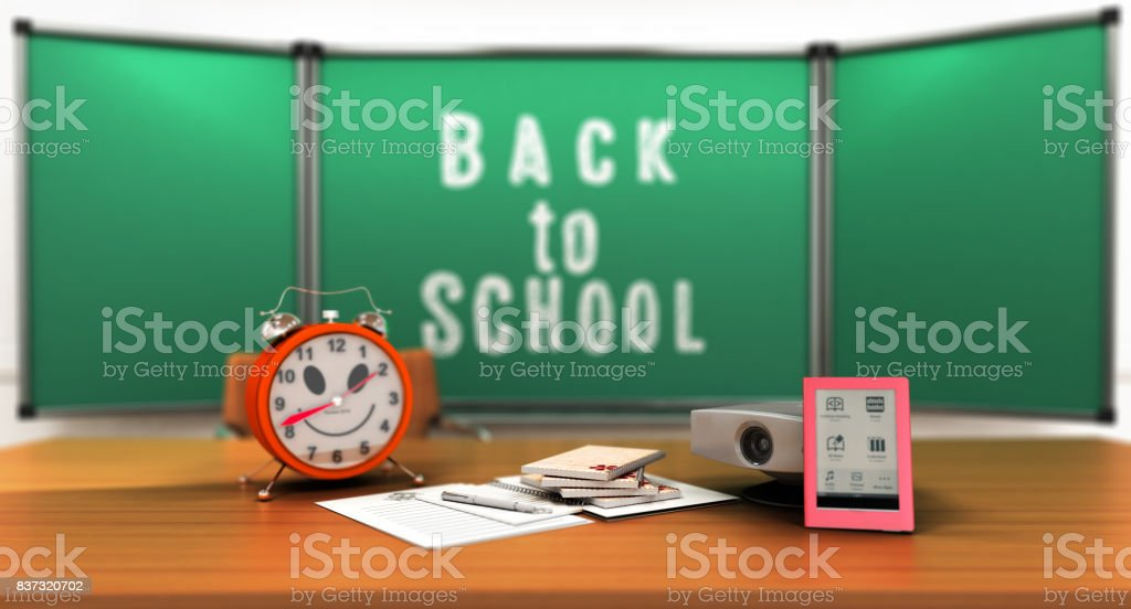 Concept school and education back to school alarm clock notepads 3d render stock photo