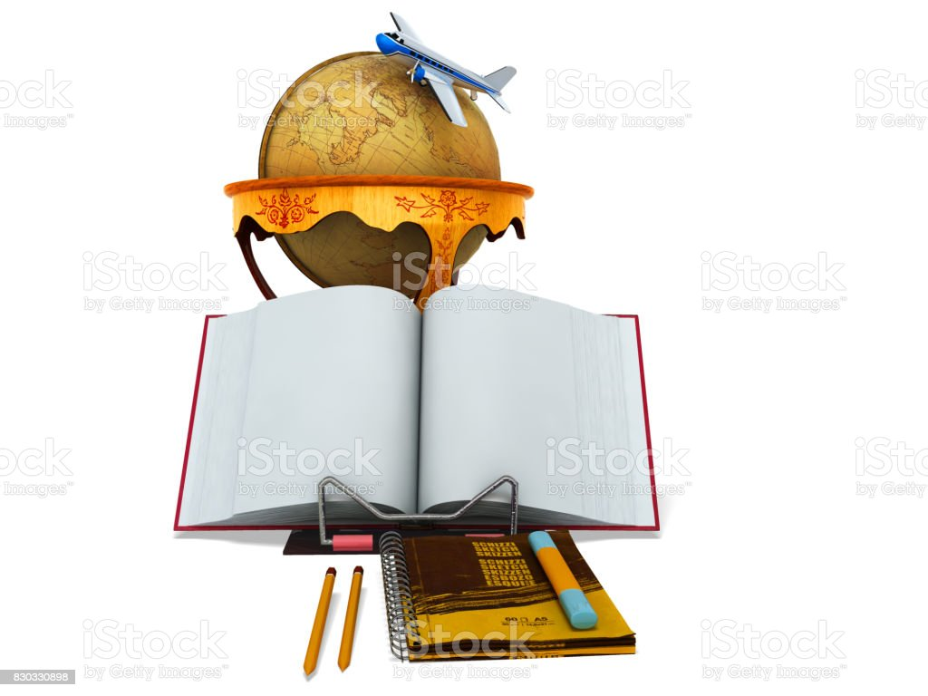 Concept school and education geography globe 3d render on white background stock photo