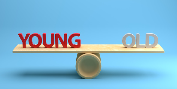 Concept Seesaw with Text Young and Old. 3d Rendering