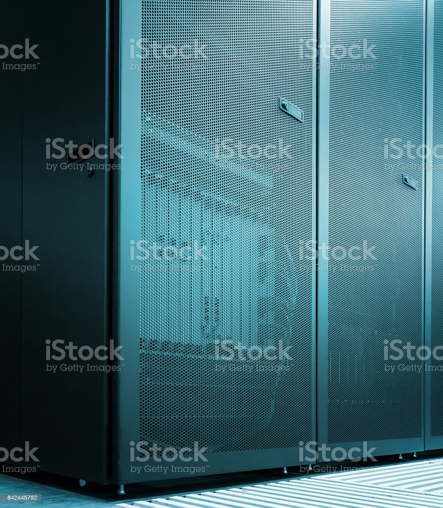 concept sheer mesh door sparcompiler with the server equipment inside. Modern data center stock photo