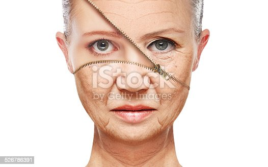 istock concept skin aging. anti-aging procedures, rejuvenation, lifting, of facial skin 526786391