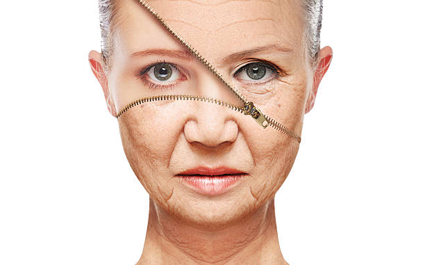 concept skin aging. anti-aging procedures, rejuvenation, lifting, of facial skin stock photo