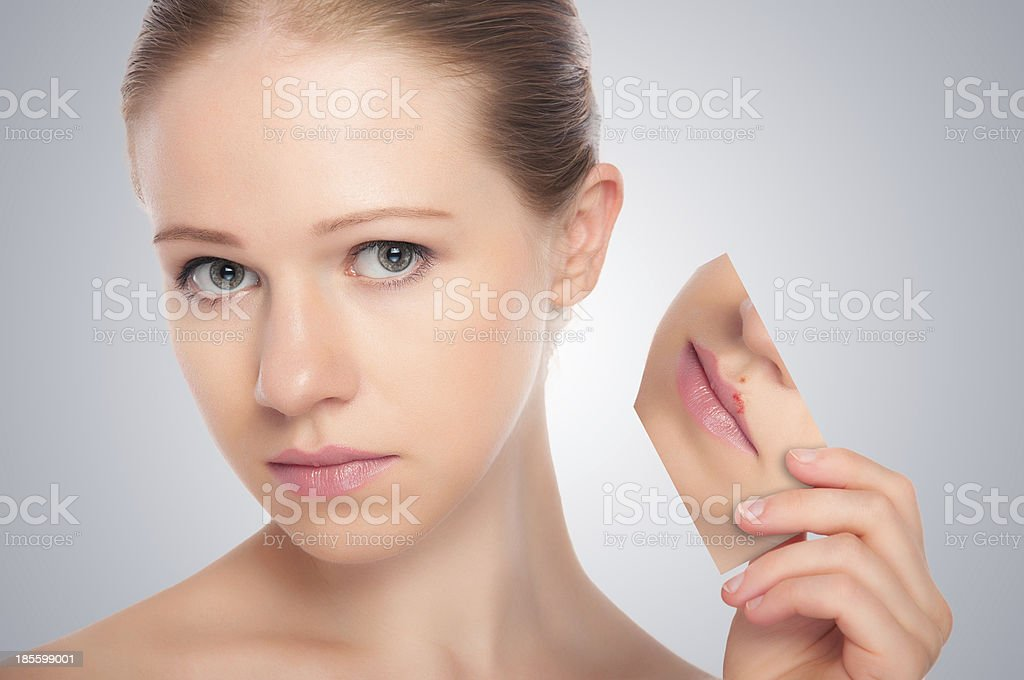 concept skincare . Skin of beauty young woman stock photo