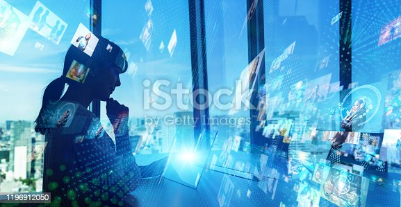 1146418904 istock photo HUD (Heads up display) concept. Social networking servic. communication network. 1196912050
