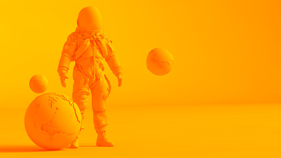 Concept stereoscopic image. Low poly earth and astronaut model isolated on orange background.