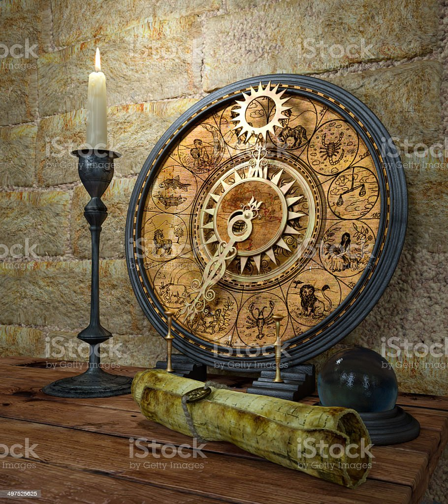 concept still life with zodiac sighs and candle stock photo