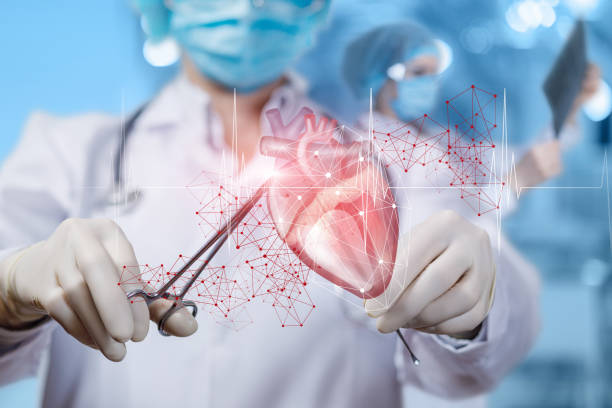 Concept surgical treatment heart. stock photo