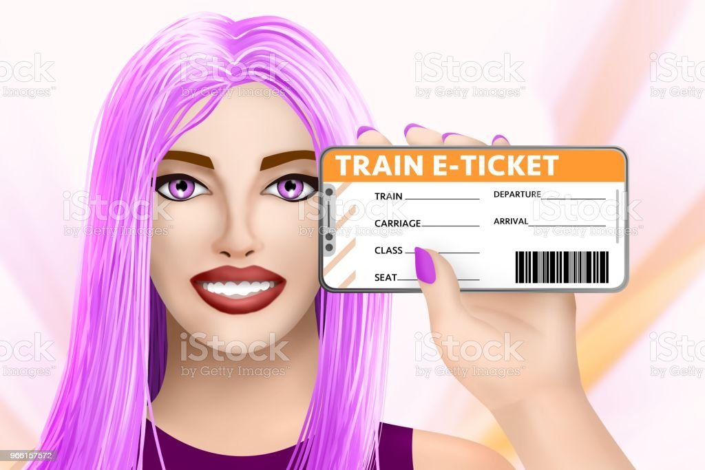 Concept train e-ticket (electronic ticket). Drawn nice girl on colored background. Illustration - Royalty-free Bilhete Foto de stock