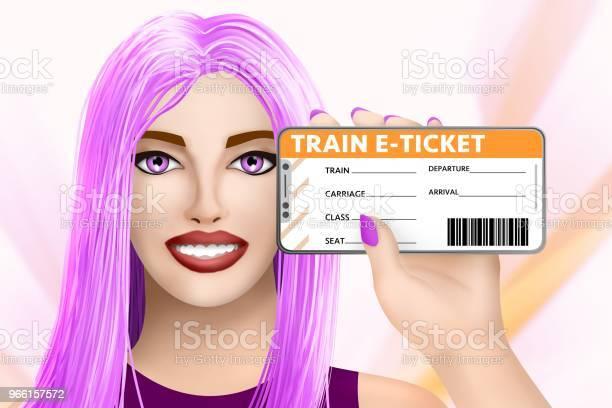 Concept Train Eticket Disegnata Bella Ragazza Su Sfondo Colorato Illustrazione - Fotografie stock e altre immagini di Affari