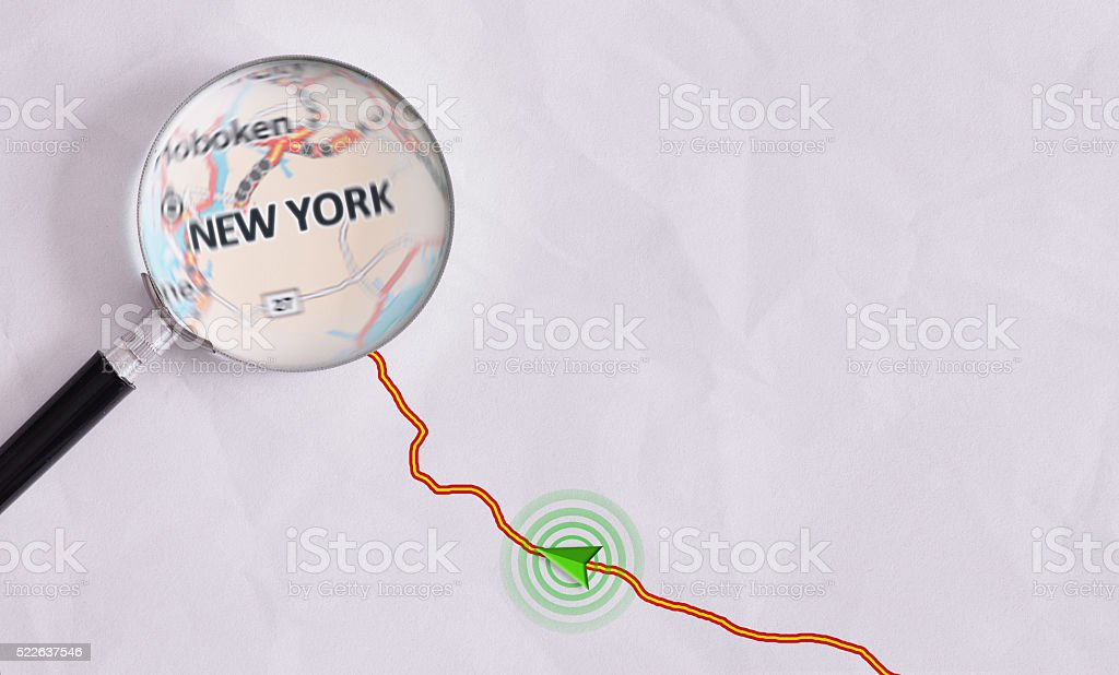 Concept travel route destined for New York stock photo
