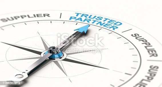 3D illustration of a compass with needdle pointing the text trusted partner. Concept of trustworthy partnership.