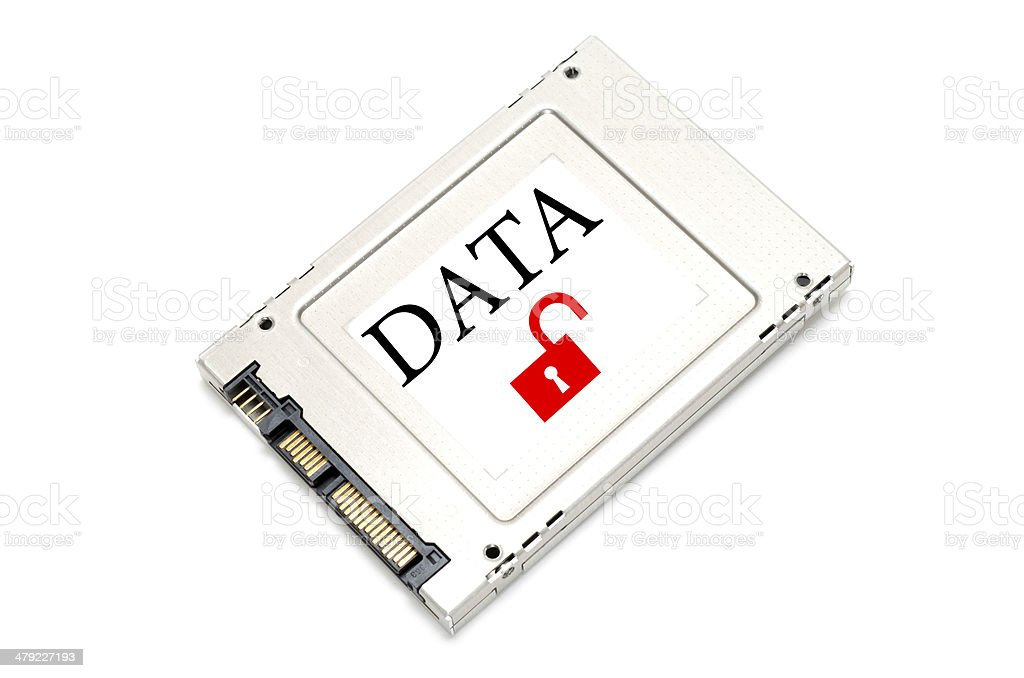 Concept unsecured data drive stock photo