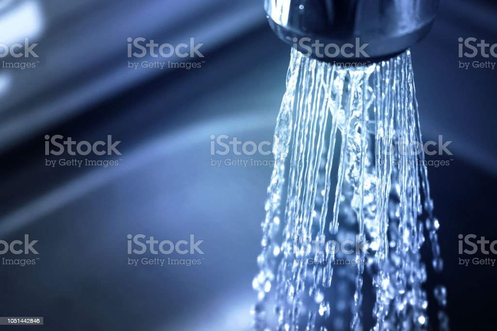 Concept water saving at home, reducing use. Water supply problems....