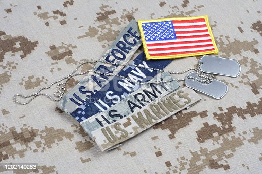 istock US MILITARY concept with branch tapes and dog tags on camouflage uniform 1202140283