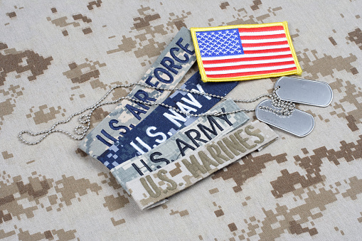 US MILITARY concept with branch tapes and dog tags on camouflage uniform background
