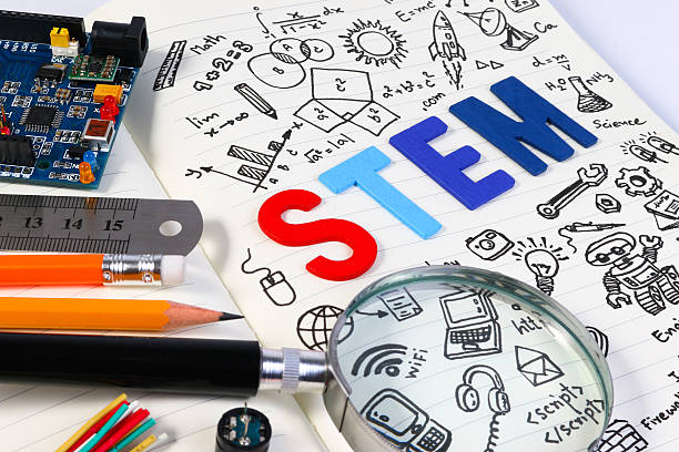 STEM concept with drawing background. Magnifying glass over education background. STEM education. Science Technology Engineering Mathematics. STEM concept with drawing background. Education background.STEM education. Science Technology Engineering Mathematics. STEM concept with drawing background. Magnifying glass over education background. plant stem stock pictures, royalty-free photos & images