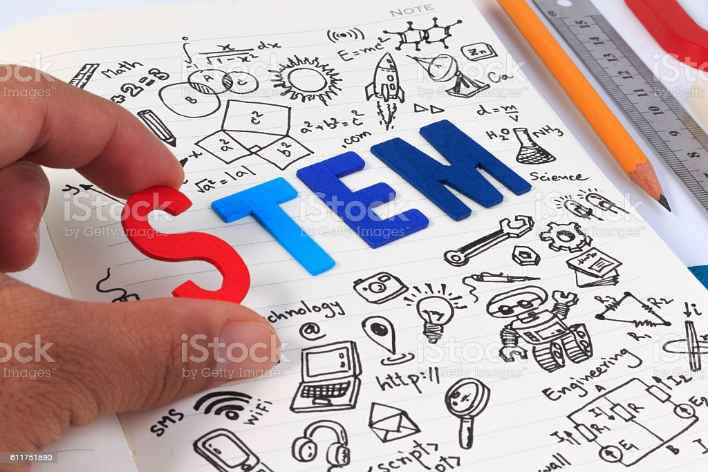 STEM concept with drawing background. Magnifying glass over education background. stock photo