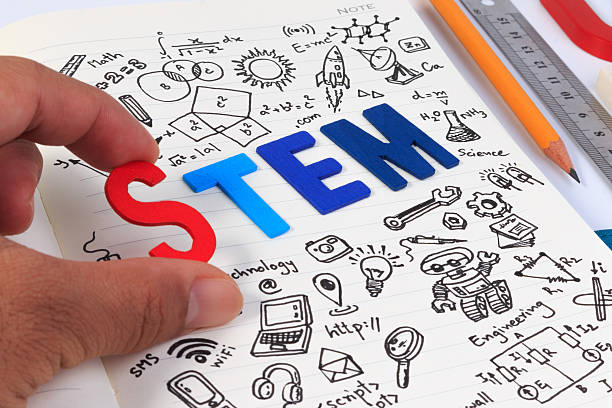 STEM concept with drawing background. Magnifying glass over education background. ストックフォト