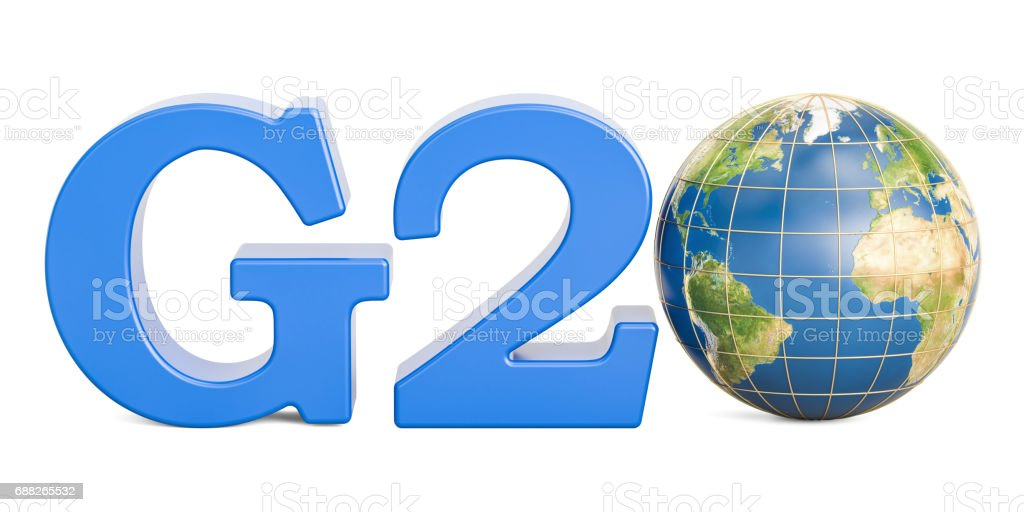 G20 concept with Earth globe, 3D rendering isolated on white background. stock photo