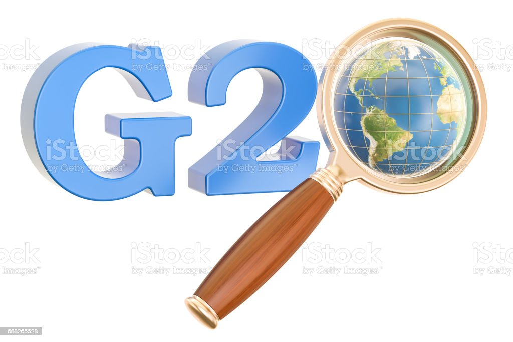 G20 concept with Earth globe and magnifier, 3D rendering isolated on white background stock photo