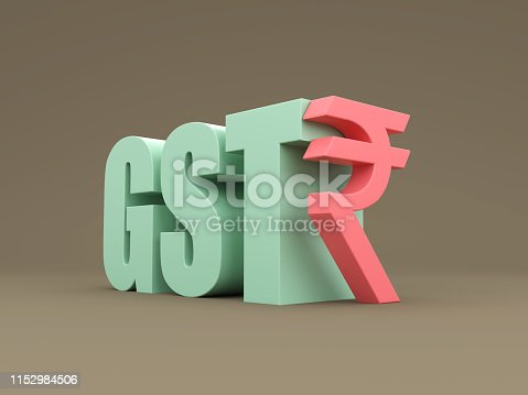 G S T concept with Indian Rupee symbol - 3D Rendering Image