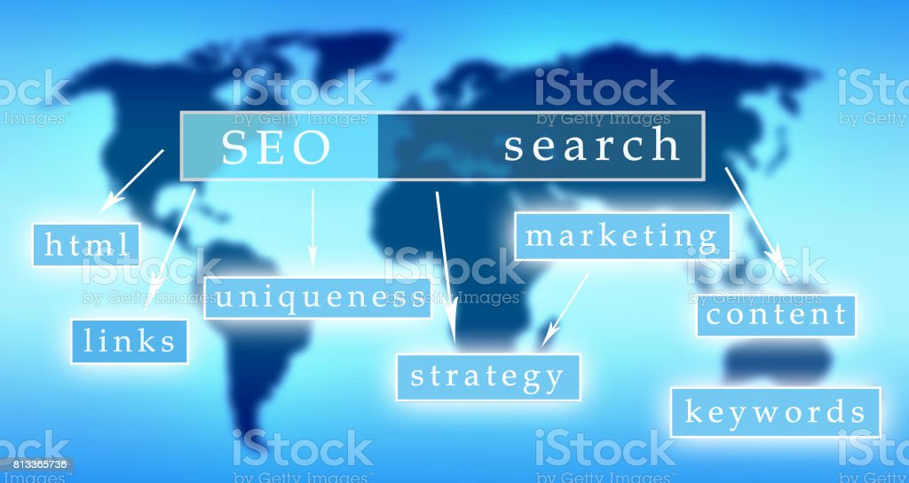 SEO concept with keywords on world map stock photo