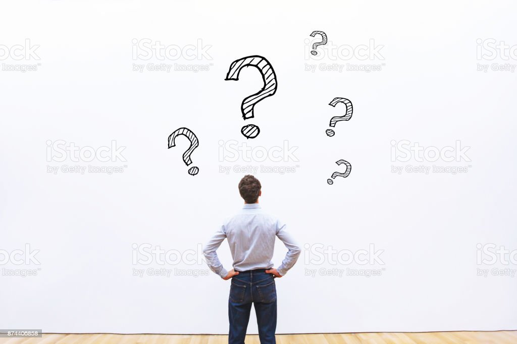 concept with many questions, education stock photo