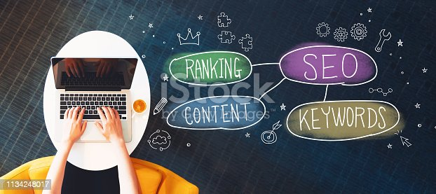 istock SEO concept with person using a laptop 1134248017