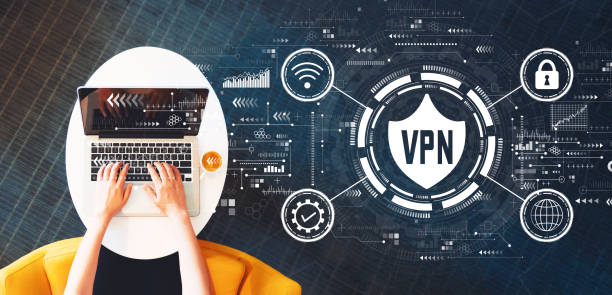 VPN concept with person using a laptop
