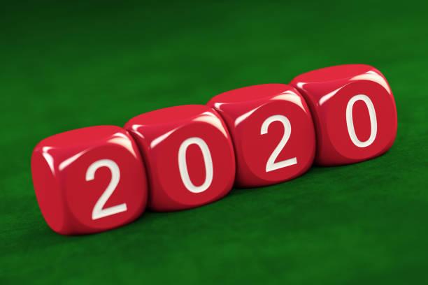 2020 konzept mit roten würfeln - 3d typografie stock-fotos und bilder