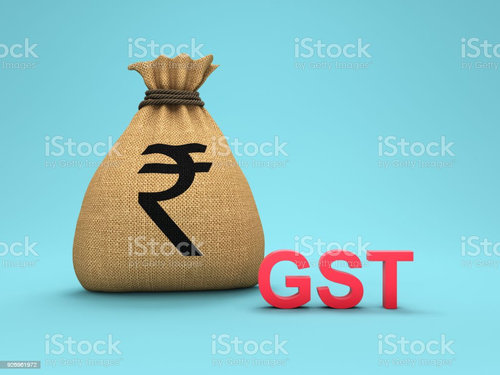 G S T Concept with Rupee Symbol stock photo