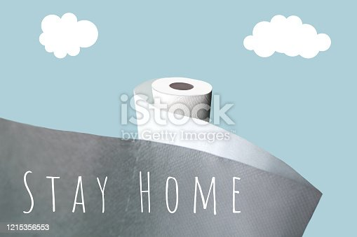 istock Concept with toilet paper. Against a blue background with a stiff shadow 1215356553