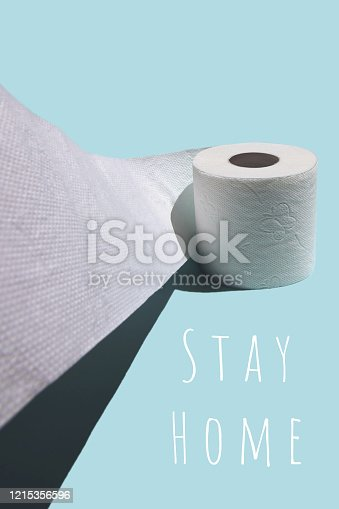 istock Concept with toilet paper. Against a blue background with a stiff shadow 1215356596