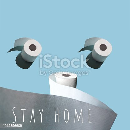 istock Concept with toilet paper. Against a blue background with a stiff shadow 1215356609