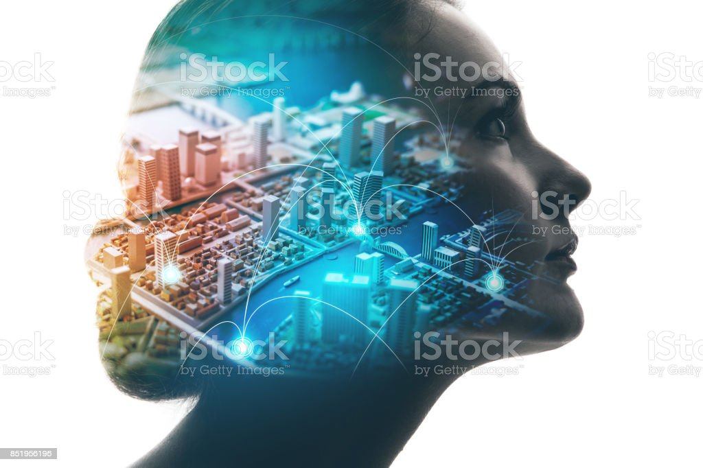 AI(Artificial Intelligence) concept. Woman profile and smart city. Mixed media. royalty-free stock photo