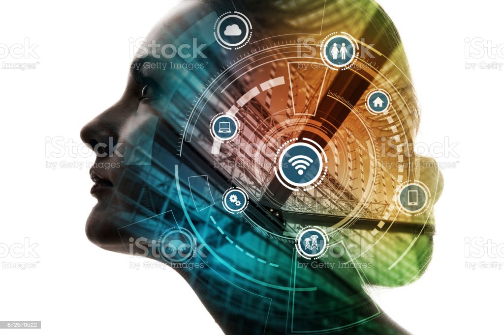 AI(Artificial Intelligence) concept. Woman profile and smart city. Mixed media. stock photo
