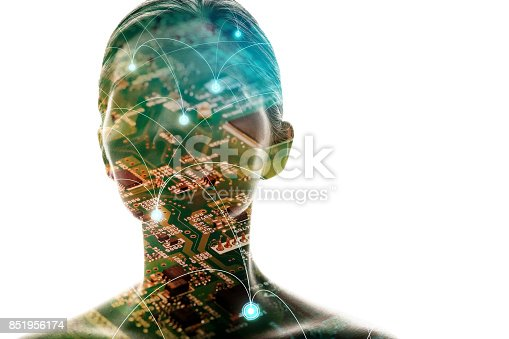 851956174istockphoto AI(Artificial Intelligence) concept. Woman silhouette and electric circuit. 851956174
