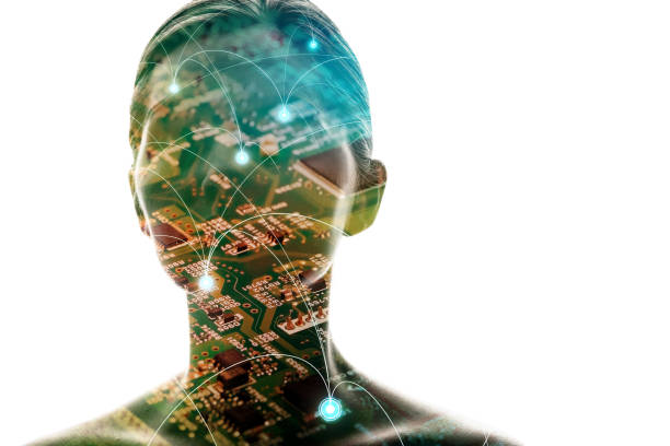 AI(Artificial Intelligence) concept. Woman silhouette and electric circuit. stock photo
