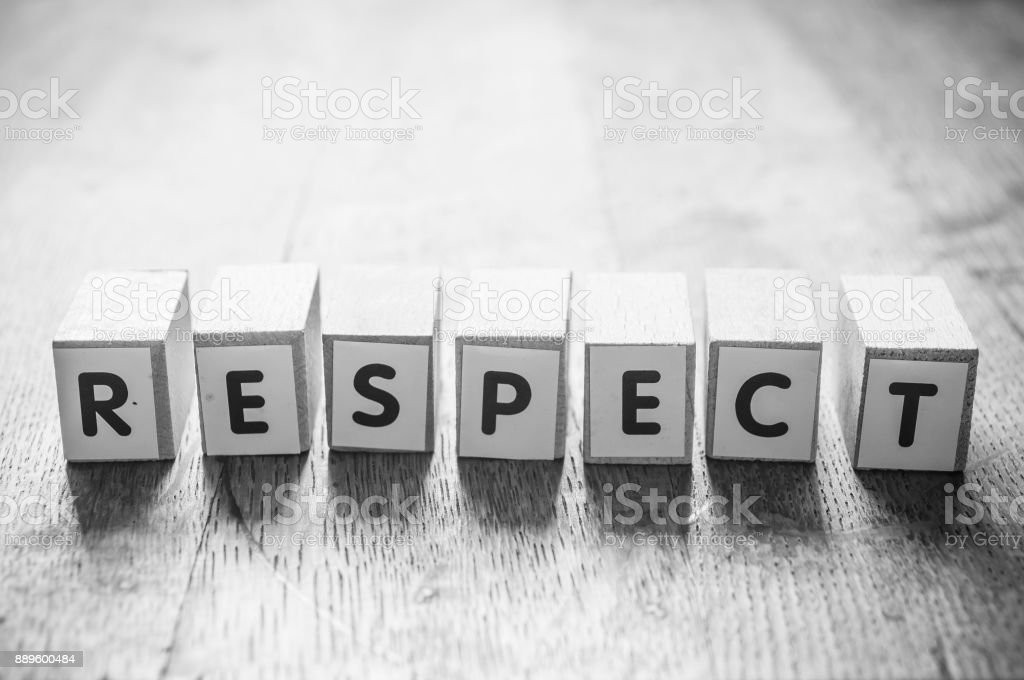 concept word on cube - respect stock photo
