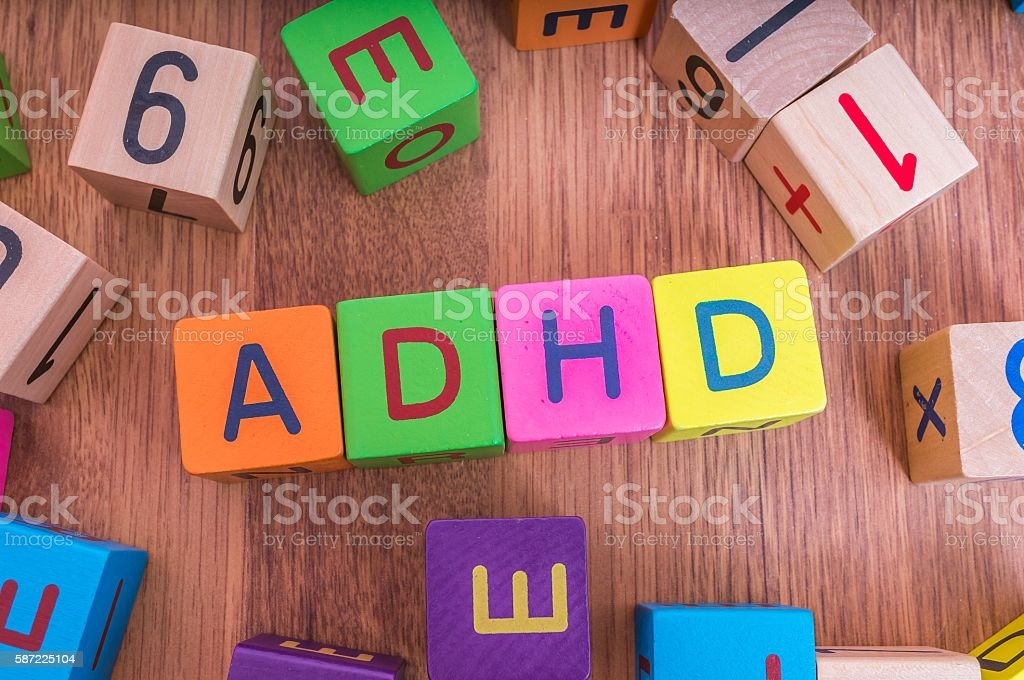 ADHD concept. Word written with colorful cubes with letters. – Foto