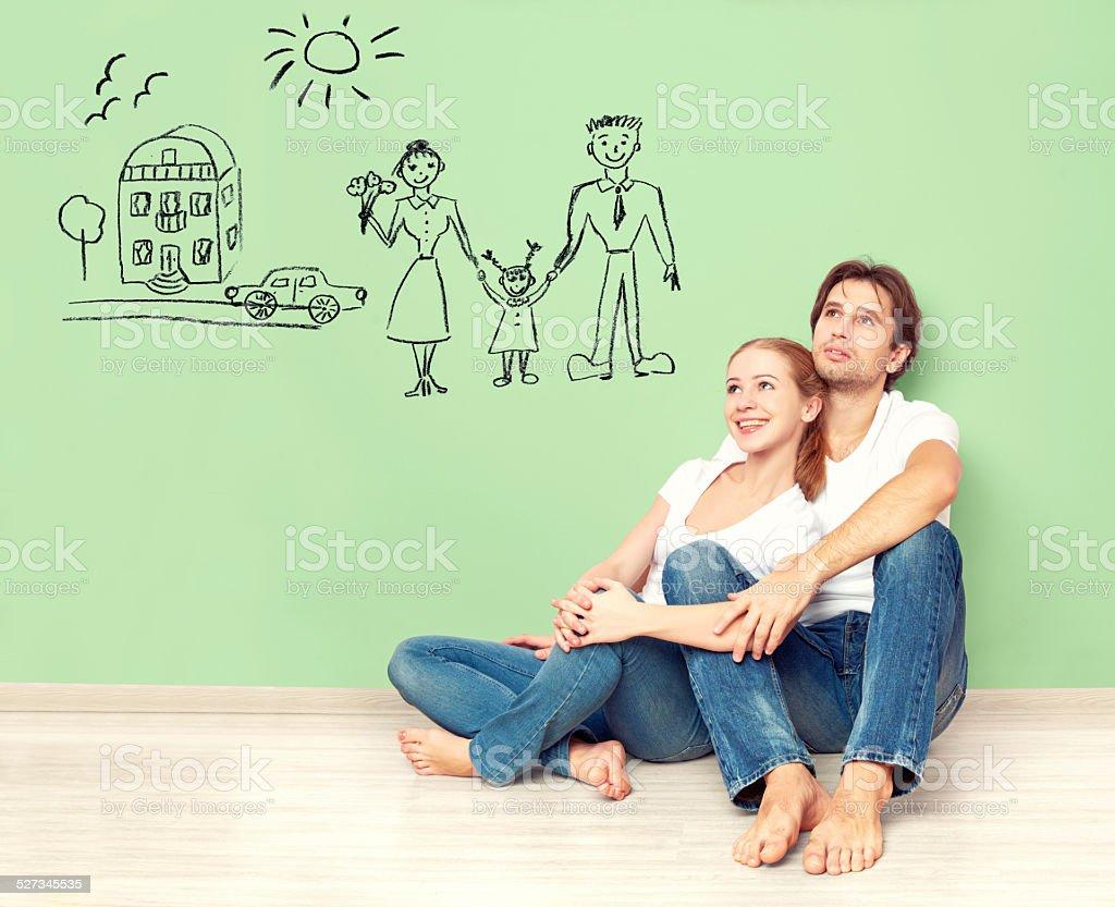 概念。若いカップルの夢、新しい家、レンタカー、子供 - あこがれのロイヤリティフリーストックフォト