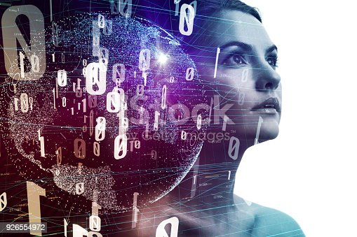 istock AI (Artificial Intelligence) concept. Young woman silhouette and digital network. 926554972