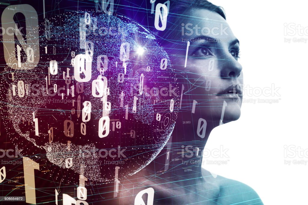 AI (Artificial Intelligence) concept. Young woman silhouette and digital network. stock photo