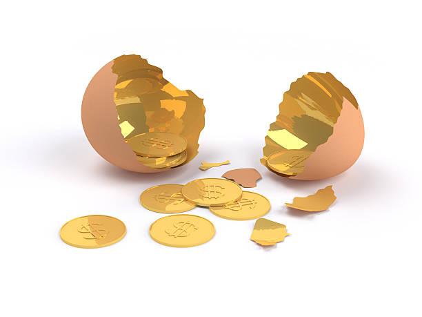 konzept-riss goldenes ei mit golden dollar im inneren. - aurum stock-fotos und bilder
