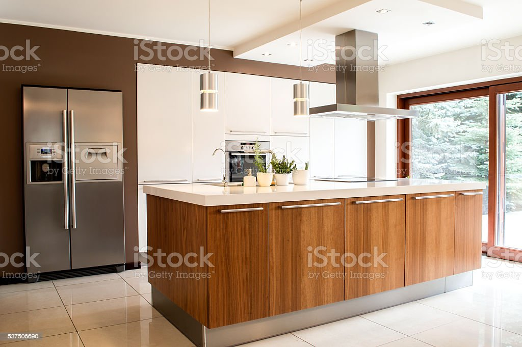Conception of modern kitchen with household goods stock photo