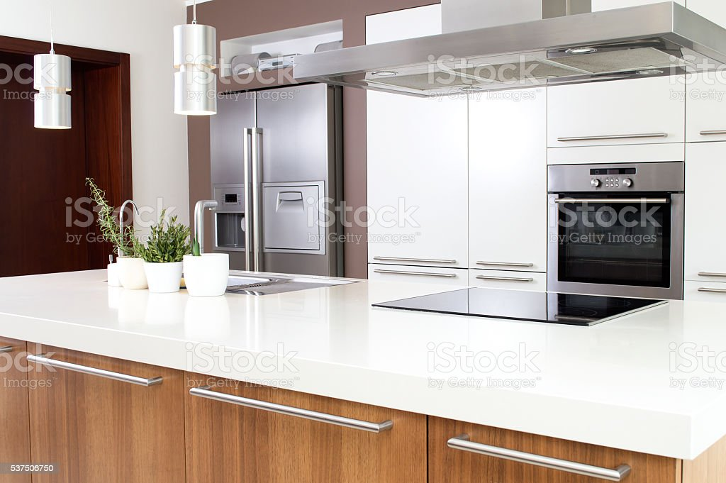 Conception of modern kitchen with household goods. stock photo