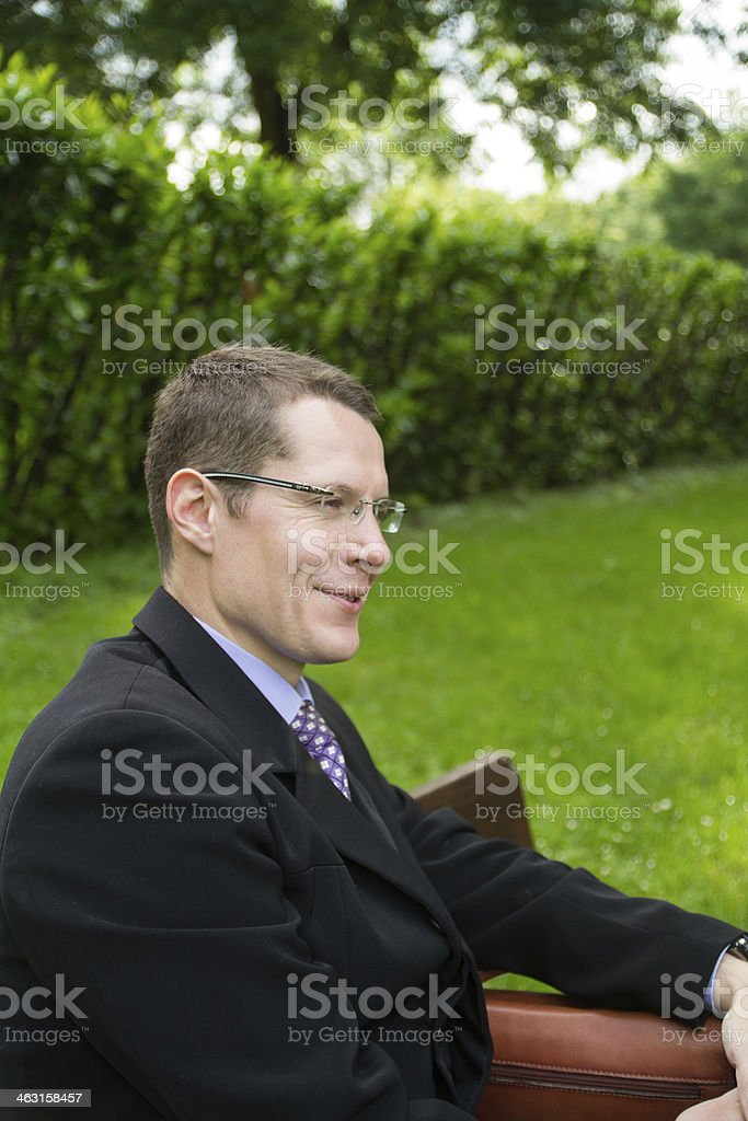 Concepts and ideas, businessman, idea, smile of satisfaction stock photo