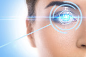 istock Concepts of laser eye surgery or visual acuity check-up 1083316456