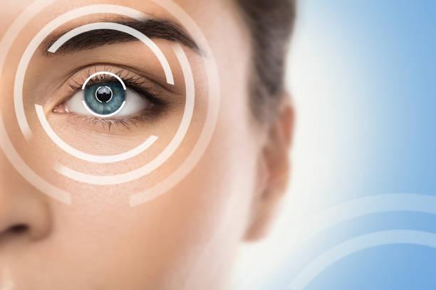 concepts of laser eye surgery or visual acuity check-up - eye imagens e fotografias de stock
