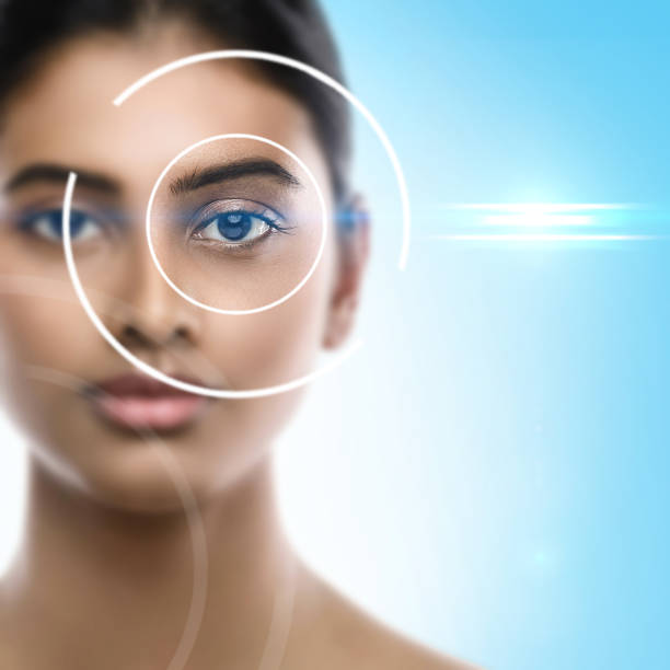 Concepts of laser eye surgery or visual acuity check-up stock photo